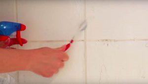 limpiar las juntas de los azulejos de una bañera