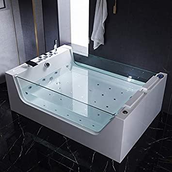 Bañera de hidromasaje Full opcional, 170 x 120 cm, calentador ozonoterapia, luces LED termostáticas, 32 chorros de aire y agua