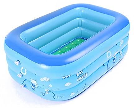Moonvvin - Bañera plegable inflable para bebés y niños pequeños, portátil y extragruesa, color azul