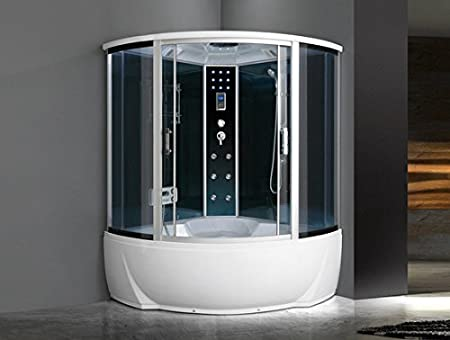Bagno Italia Cabina de hidromasaje semicircular 150 x 150 cm con bañera Bluetooth, sauna cromoterapia I