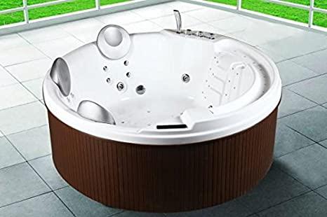 Bagno Italia Minipiscina bañera hidromasaje 200x200x80 para exterior, capacidad 3 a 5 personas, 29 hidro-jets, calentador, cromoterapia