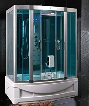Bagno Italia Cabina de hidromasaje con bañera 150 x 90 cm Full optional multifunción con baño turco L