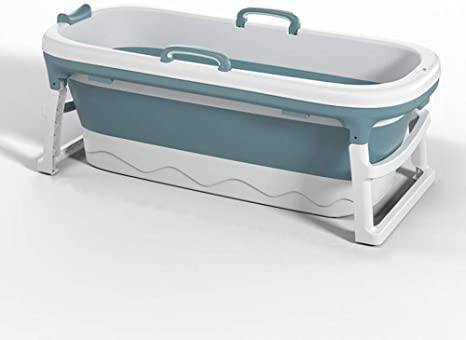 Bañera para Adultos,Bañera de plástico espesada,Bañera Plegable Portátil Hogar,Bañera para Natación para Bebés Hogar,para Uso Al vapor,Casa Sauna (Azul) (115 * 62 * 52 cm)
