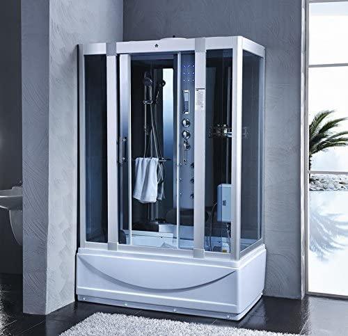Bagno Italia Cabina y bañera de hidromasaje, 135 x 80 cm, 6 chorros con sauna, baño turco, radio FM 12 I
