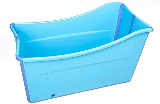 Gweat Kids Portable Bañera Plegable Piscina Grande Independiente Bañera de Esquina Balde de baño para Adultos/Adultos Mayores Aumento, Largo Tiempo de Aislamiento con Cubierta (Rosa/Azul)