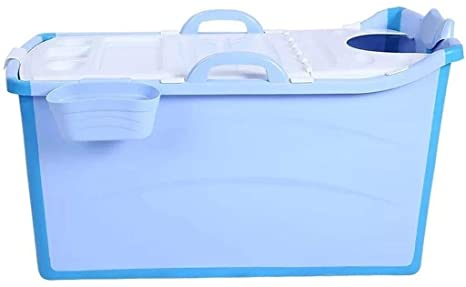 Zylxnt Bañera Plegable, plástico Engrosado portátil con Tapa, fácil de Transportar, Bloqueo de Temperatura, bañera para niños Adultos