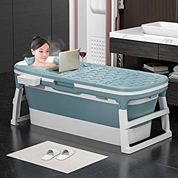 Portátil Plegable Bañera Adultos Niños Piscina Gran Plástico Independiente Bañera Cubo de Bañera de Bañera para Adulto con Cubierta