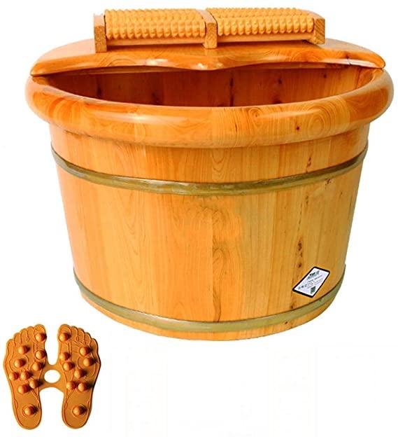 Bañera para piesCHY CHY Tina For Pies De Madera Sólida, Barril For Baño De Pies For Masaje SPA, Barriles De Pedicura Lisos Y Delicados, con Cubierta, 26 Cm (Color : Natural)