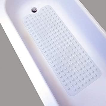 Nifogo Alfombrilla baño Antideslizante bañera Niños,Esterilla De Ducha,Caucho Natural Antideslizante 100cm X 40cm, Alfombra De Baño Antideslizante con Ventosas (Transparente)