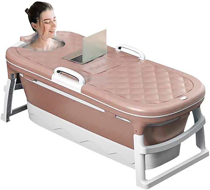 Bañera portátil Bañeras domésticas plegables para adultos Baño familiar Ducha Bañera de remojo SPA en casa Piscina independiente con cubierta termostática