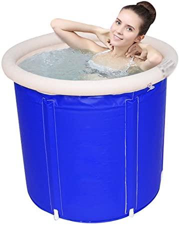 Washbasin Barril de baño Plegable de plástico para Adultos con Cubierta Redonda Aislante Grande para niños, 75x75x75cm