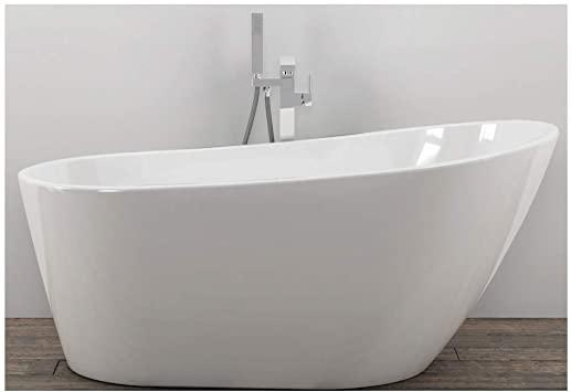 Bañera de baño Free Standing 005 acrílico blanco brillante ovalado