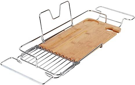 INNO STAGE Bandeja de bambú para bañera extensible con ranura para copas de vino y estante para libros o tabletas (marrón madera)