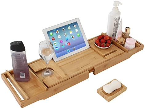 Grandma Shark la Bandeja de baño de bambú retráctil, la Bandeja de bañera expansible Puede Contener Toallas, Copas de Vino, Libros, teléfonos móviles, tabletas, etc. (Natural)