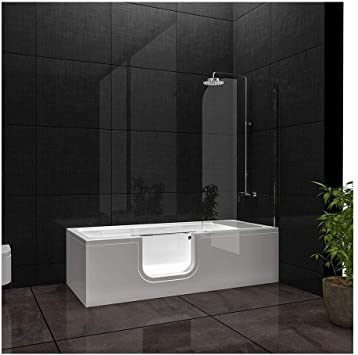 Bañera VitrA Combo rectangular, entrada a la derecha, bañera de acrílico a la izquierda