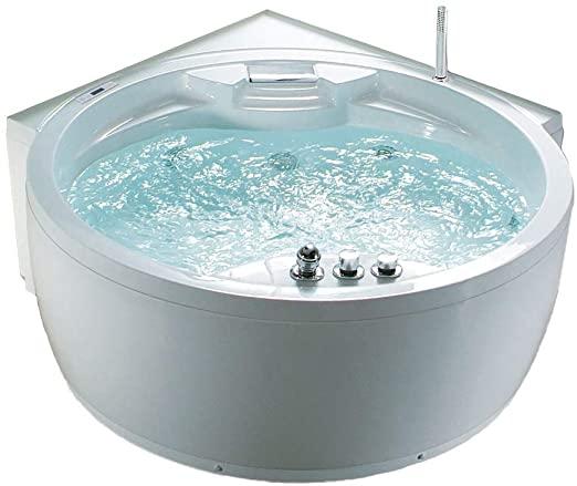 Whirlpool Bañera Florenz con 14 Boquillas de Masaje+Calefacción+Desinfección de Ozono + Iluminación / Luz + Cascada+ Radio - Hidromasaje