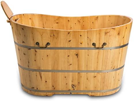 Trade-Line-Partner Bañera de madera Bern (jacuzzi, ducha, baño, madera, baño), 150 x 62 cm