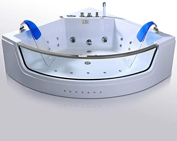 Bañera hidromasaje 152 x 152 cm CAPRI Bañera de Esquina Terapia luz de colore