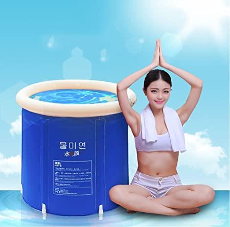 Plegable bañera de barril del baño de tina de baño de adultos inflable, bañera cubo de plástico grueso. ( Tamaño : M )