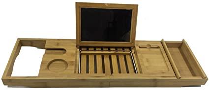 ZHJC Bandeja de Baño Extensible Bandeja de bañera telescópica de bambú Bandeja de Soporte de bañera multifunción para el SPA doméstico (Color : Picture Color, Size : 70x22x4.5cm)