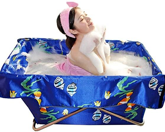 Lwieui Bañera portátil Plegable Baño Barril for Adultos y niños portátil y fácil de almacenar Piscina del bebé bañeras (Color : Azul, Size : 108x55x52cm)