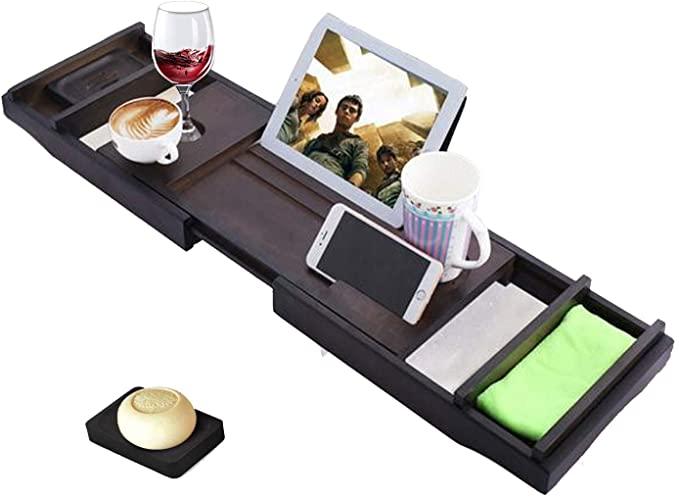 ZEARO Bandeja Bañera de Bambú Bandeja de Baño Extensible con Soporte para Copa de Vino, iPad y Móvil,Estante Bandejas de Baño,Bandeja de bambú para Bañera Extensible