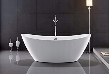 Bañera de acrílico independiente, 160 x 80 cm, color blanco