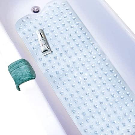 Wimaha Alfombrillas de baño Extra largas,Alfombrillas de Ducha Alfombrillas de bañera Antideslizantes Antideslizantes y Resistentes al Moho con Ventosa,Lavable a máquina,100x40cm,Transparente
