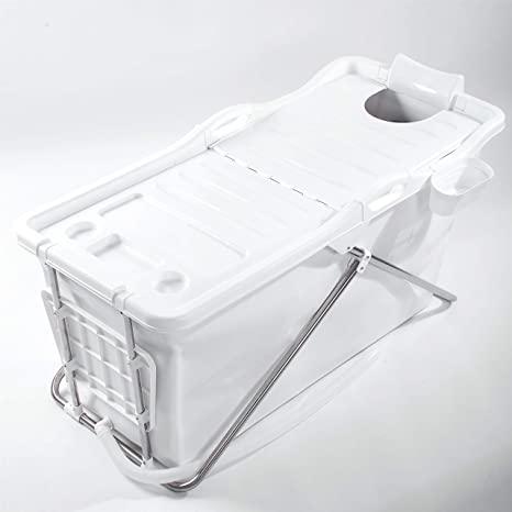 FlinQ Bañera Móvil Plegable para Adultos | Blanco | Sistema de Clic sencillo | Ideal para Baños Pequeños | Bañera Plegable XL | Bañera Móvil para Adultos y Niños