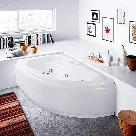 Bañera de hidromasaje con sistema Whirlpool 150 x 100, fabricada en Italia, capacidad: 120 l (versión derecha sin grifería)