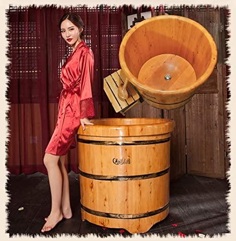 LOHOX Redondo Bañera Fumigación de Baño de Madera de Cedro para Adultos Engrosamiento Bilateral Sillón de Lujo Fondo de Barril Engrosado 0.8M-1.0M Consumo de Agua 220L