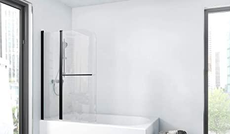 Marwell BWF285 Factory - Pared plegable para bañera, color negro mate, 100 x 140 cm