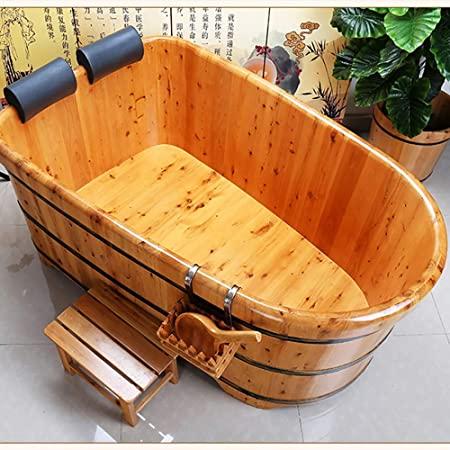 LOHOX Doble Bañera Fumigación de Baño de Madera para Adultos con Reposacabezas Cómodo, Taburete Interior Contorneado del Cuerpo Humano Acero Plano Galvanizado de 2.5CM - 220L