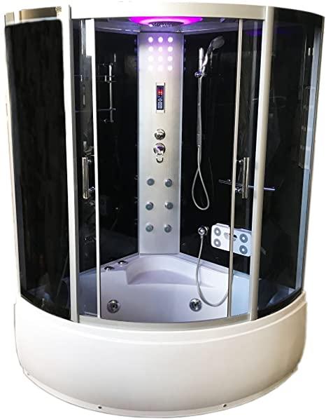 Bañera hidromasaje Bañera de esquina Ducha Cabina MILAN 130 x 130 cm h 220cm