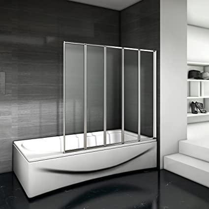 Mamparas pantalla de bañera biombo 5 veces plegable de Aica 1200 x 1400mm