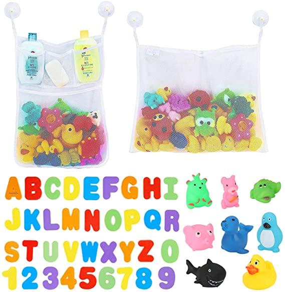 BBLIKE Juguetes para el Baño- Letras y Números, 2 Piezas Red de Baño Almacenamiento Bolsa de Juguete con 36 Piezas de Letras y números+ 6 Piezas Ganchos Adhesivos+ 8 Juguete de Sonido