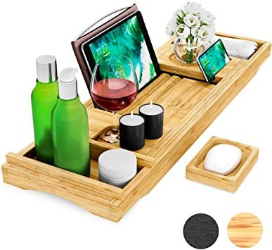 Pumpko® Bandeja para Bañera de Bambú (Color Natural) con Brazos Extensibles   Jabonera, Portavasos, Porta-Libros, Toallero, Soporte para Móvil y Tableta integrado