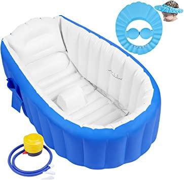 Bañera Hinchable Bebe Bañera Inflable Bebe Bañeras Hinchables Bebe Bañera Hinchable para Ducha con Bomba de Aire y Gorro de Ducha para Bebés, Recién Nacidos, Niños y Niñas