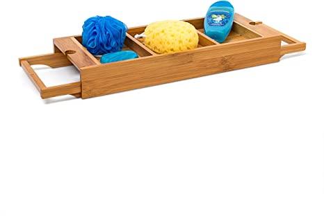 Relaxdays 10019196 Bandeja Extensible de bambú, 7 x 67,5 x 21 cm Ancho Ajustable para Cualquier bañera y 2 Soportes, Color, marrón Claro, 7 x 67 x 21,5 cm