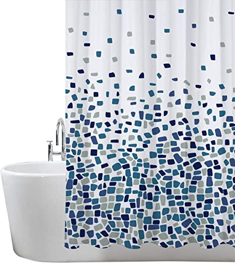 Cortinas de Ducha, para baño, bañera, Impermeable, Resistente al Moho, Anti Moho y Impermeables 180 x 180 cm (71 x 71 Pulgada)   100% Polyester - diseño de Mosaico, Azul