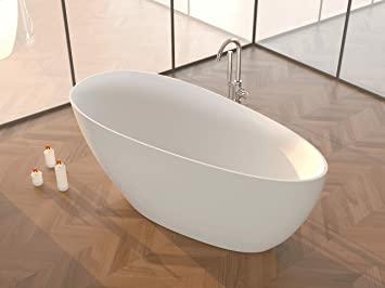 Bañera independiente | Bañera de pie | mármol fundido/mineral fundido / superficie sólida | CALA II | blanco mate | 1570 x 710 x 635 mm
