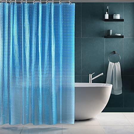 SPARIN Cortinas baño Antimoho, Antibacteriana, EVA Cortina Ducha Azul Impermeable Efecto Cristal 3D con 12 Ganchos Blancos [Respetuoso con el Medio Ambiente] [Lavable] [180x180cm]